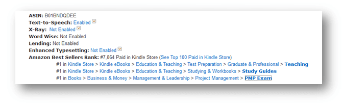 pmp kindle book best seller rank