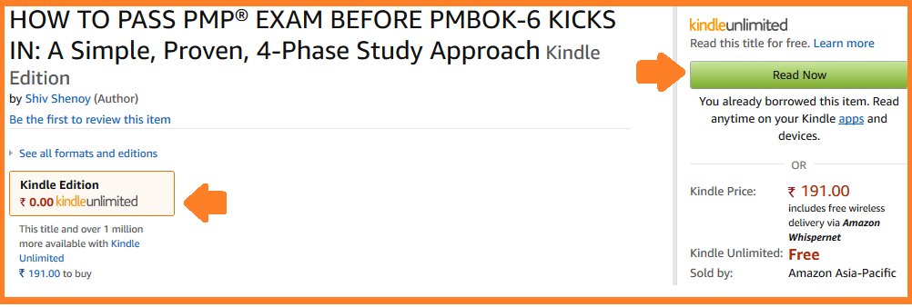 read PMP book free via Kindle Unlimited