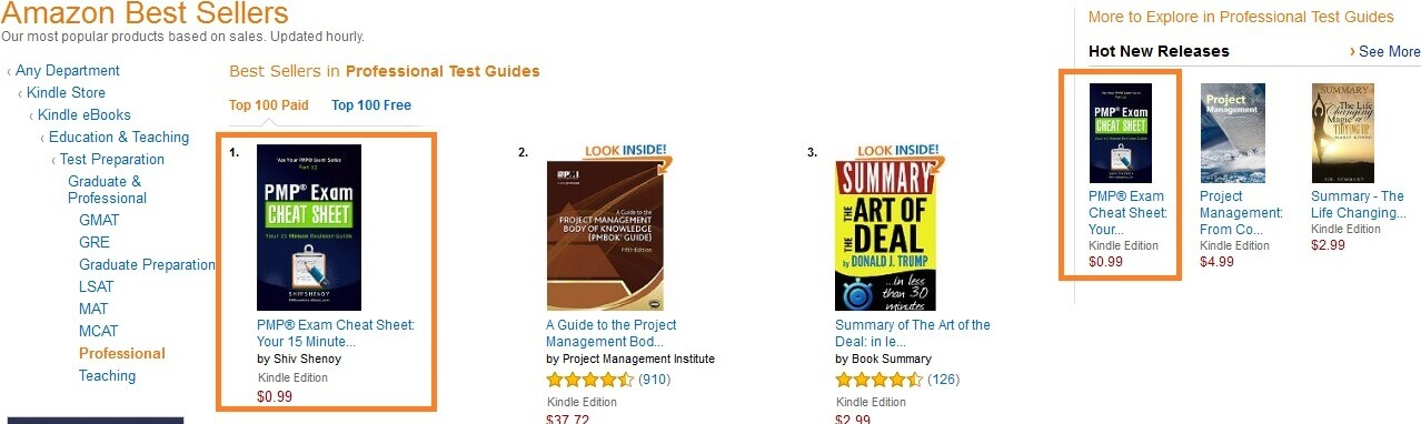 pmp exam cheatsheet bestseller1 kindle hot release